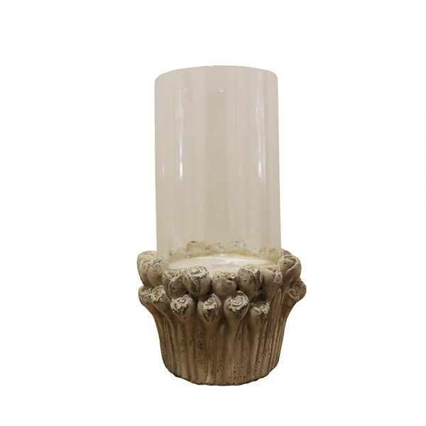 Porta Velas Cerâmica e Vidro