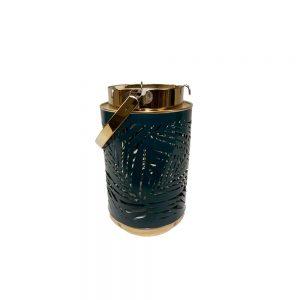 Lanterna Metal Azul e Dourado | Homeart - Design e Decoração de Interiores | 18000306