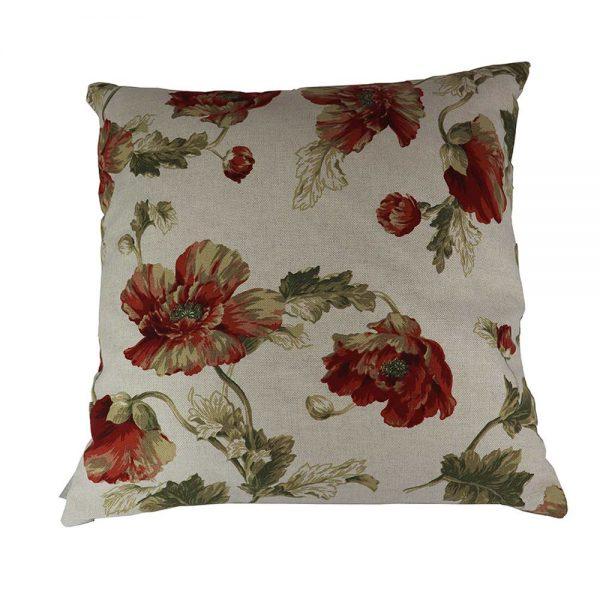 Almofada Linho Flores Vermelhas