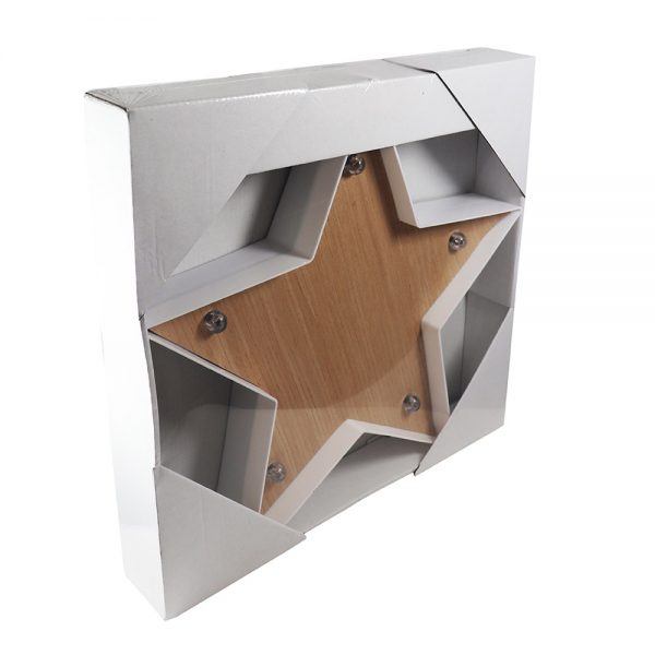 Candeeiro formato Estrela com Efeito Madeira