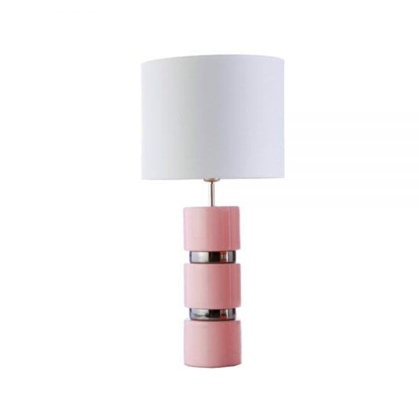 Candeeiro Cerâmica Rosa e Branco