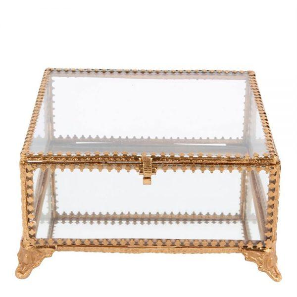 Caixa Vidro e Aço Dourado