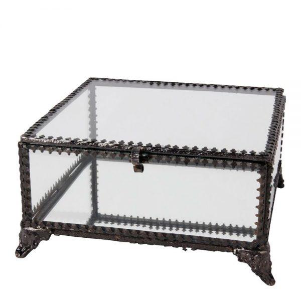 Caixa Vidro e Aço Preto