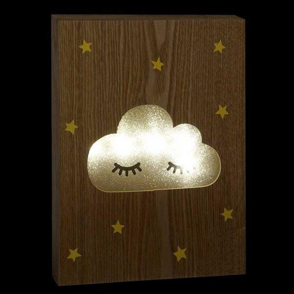 Placa Madeira LED Nuvem