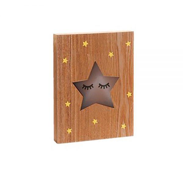 Placa Madeira LED Estrela