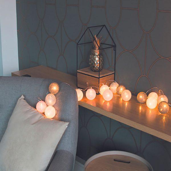 Grinalda Led Rosa 10 lâmpadas